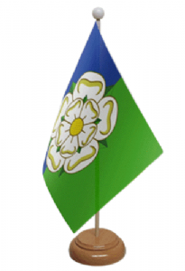 Yorkshire East Riding Desk / Table Flag with wooden stand and base